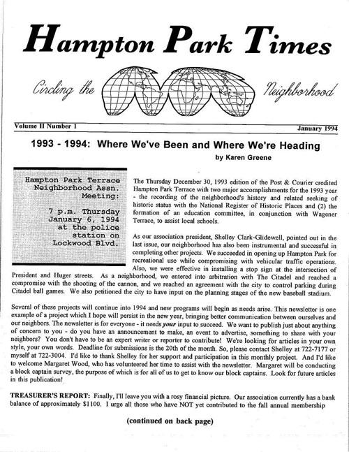 HPT Newsletter January 1994