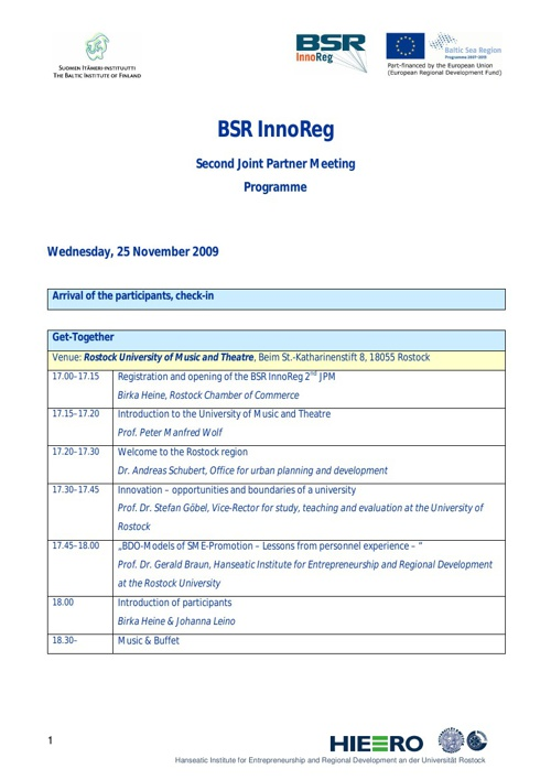 JPM Rostock programme