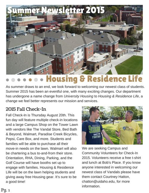 Summer Staff Newsletter 2015
