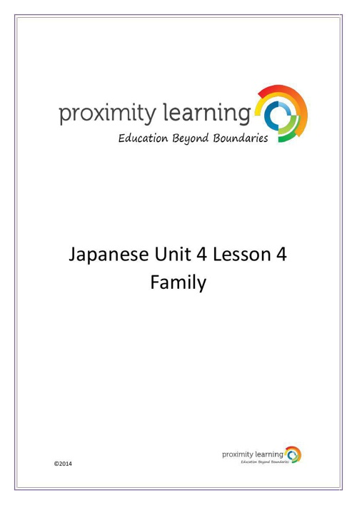 JPN Unit 4 Lesson 4: Family
