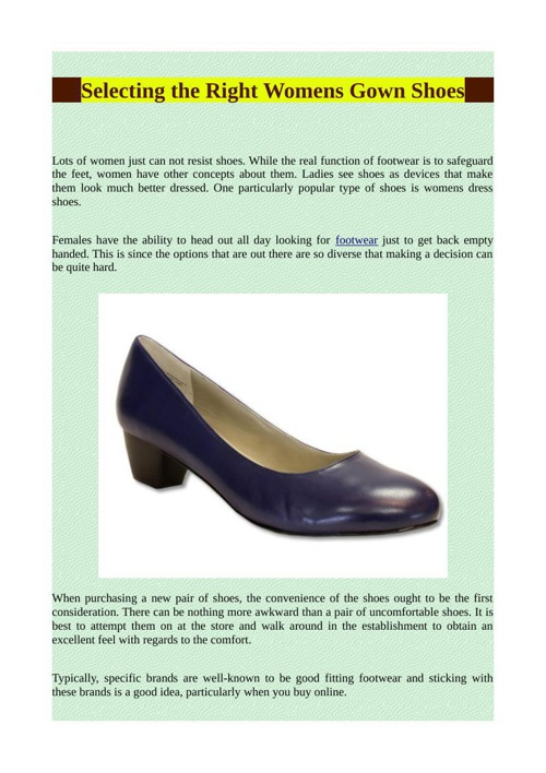 Selecting the Right Womens Gown Shoes