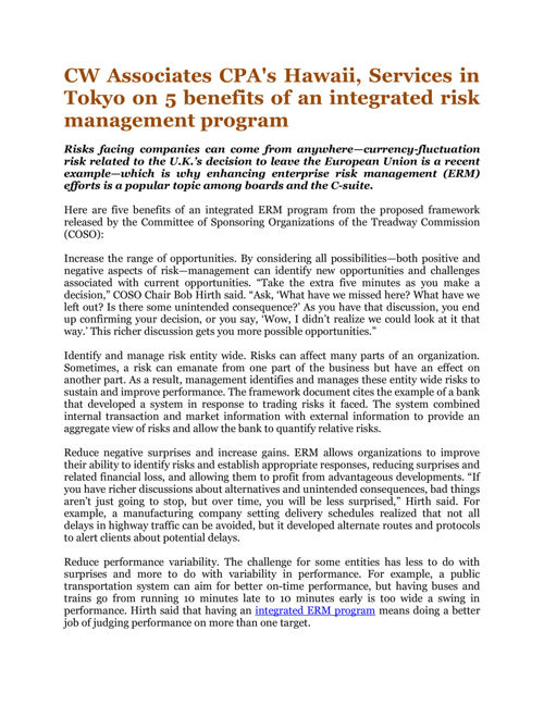 CW Associates CPA's Hawaii, Services in Tokyo on 5 benefits