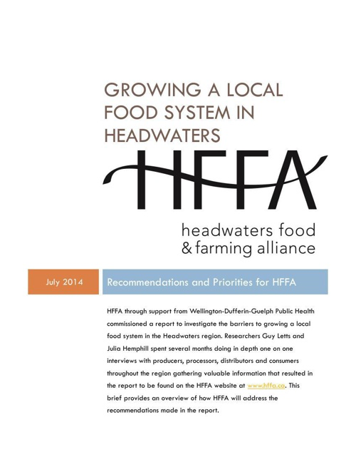 Growing a Local Food System in Headwaters Priorities for HFFA