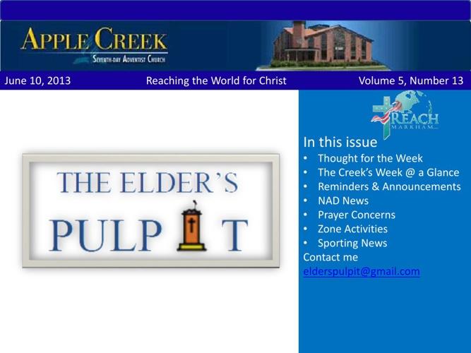 Elders Pulpit June 10, 2013