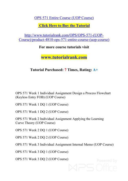 OPS 571 Potential Instructors / tutorialrank.com