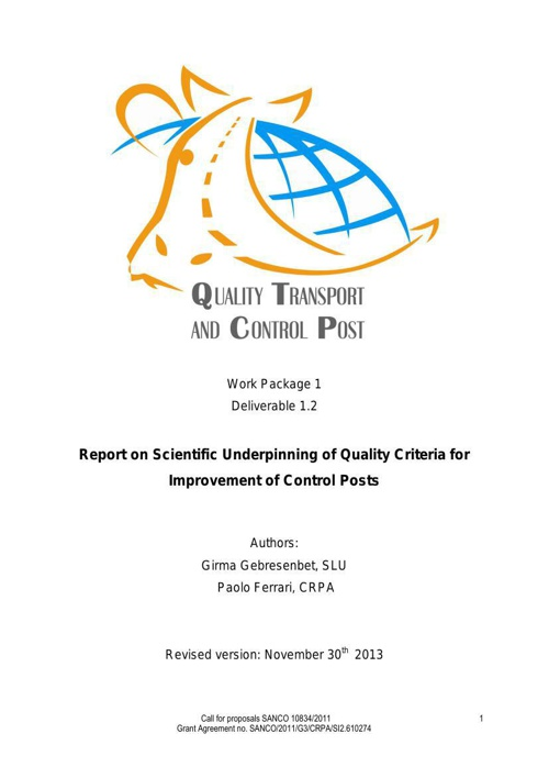 Quality Transport and CP Handbook - WP 1 Deliverable 1.2
