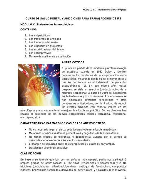 MODULO VI. TRATAMIENTOS FARMACOLOGICOS