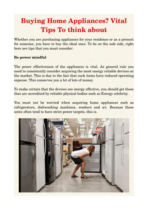 Buying Home Appliances? Vital Tips To think about
