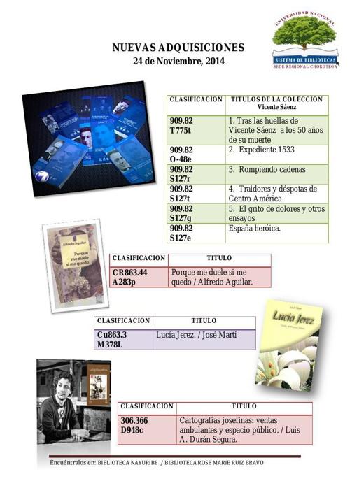Nuevas Adquisiciones 24-11-2014