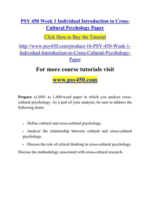PSY 450 Week 1 Individual Introduction to Cross-Cultural Psychol