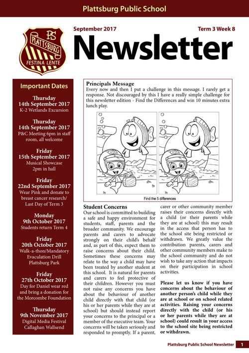 2017 Term 3 Week 8 Newsletter