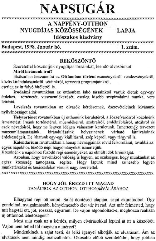 Napsugár újság - 1998.