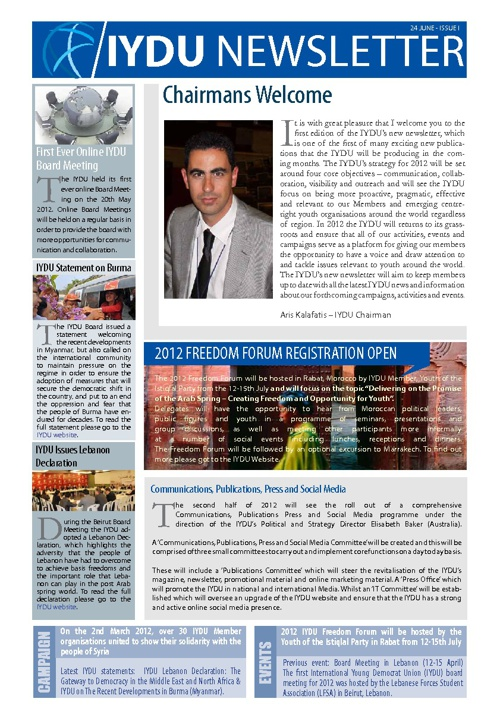 IYDU News Letter - Issue 1