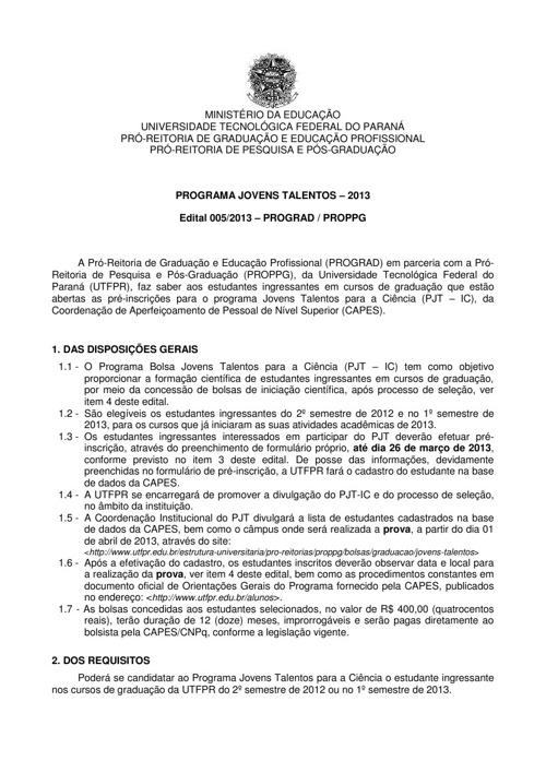 EDITAL 005-2013 ProgramaJovensTalentos