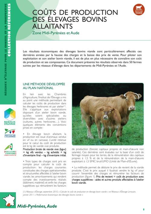 Coût de production des élevages bovins allaitants