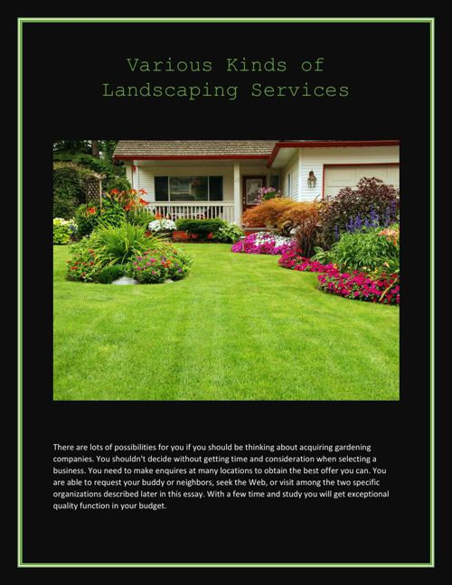 Various Kinds of Landscaping Services