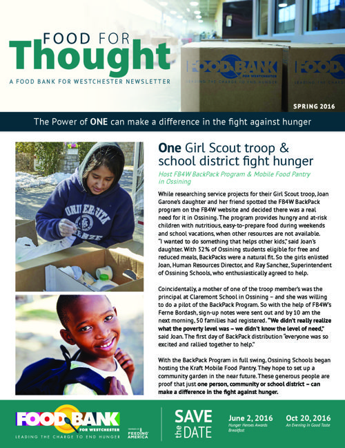 Food For Thought- Spring 2016 Newsletter FINAL