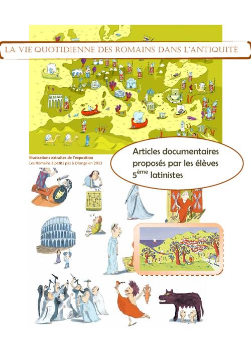 Articles sur la vie quotidienne des romains...Latin 5e 2011-2012