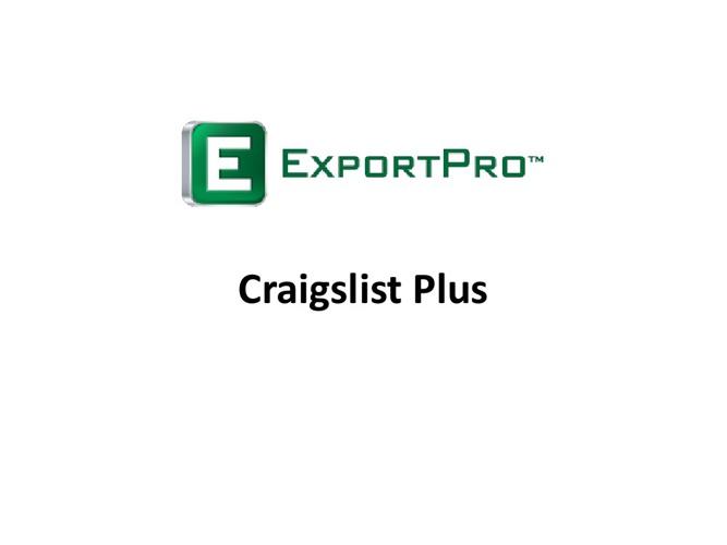 Craigslist Plus - ExportPro™