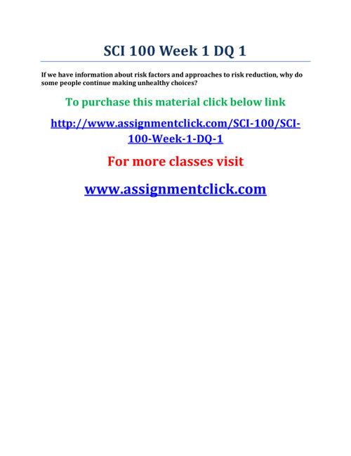 UOP SCI 100 Week 1 DQ 1