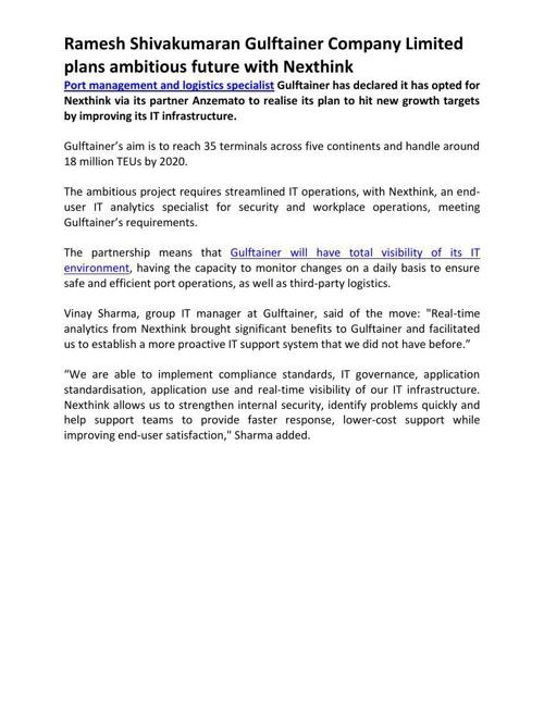 Ramesh Shivakumaran Gulftainer Company Limited plans ambitious f