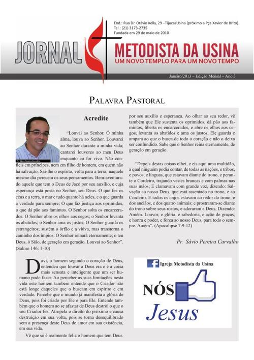 Jornal Metodista da Usina - Janeiro/2013
