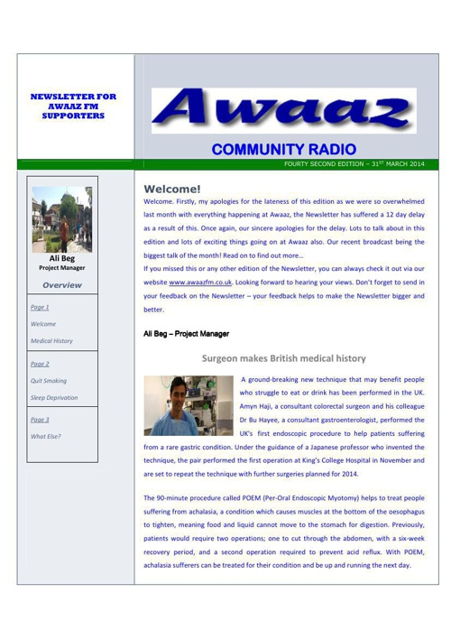Awaaz Newsletter (April 2014)