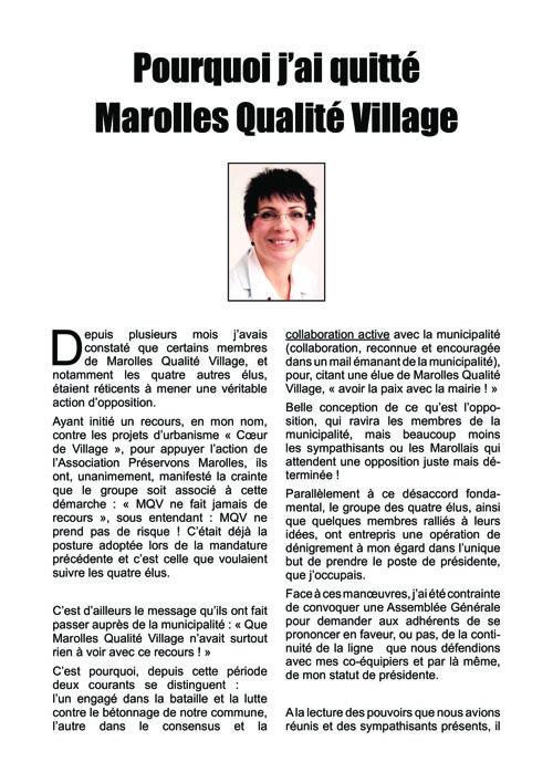 Pourquoi j'ai quitté Marolles Qualité Village