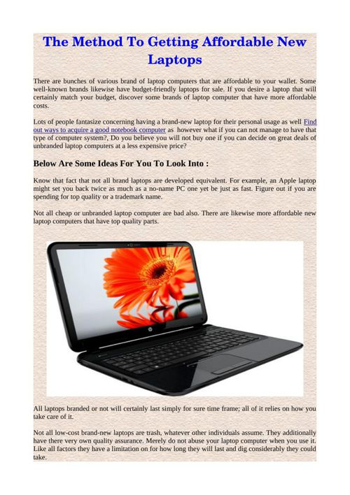 The Method To Getting Affordable New Laptops