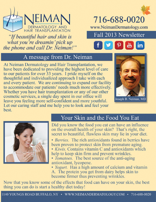 Neiman Dermatology and Hair Transplantation Fall 2013 Newsletter