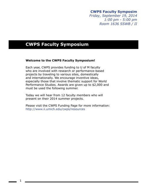CWPS Faculty Symposium Handout 2014