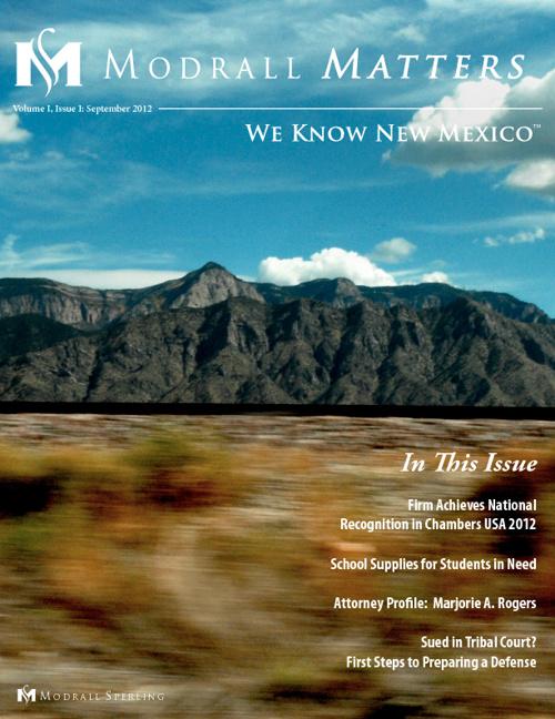 Modrall Matters Volume I, Issue I: September 2012