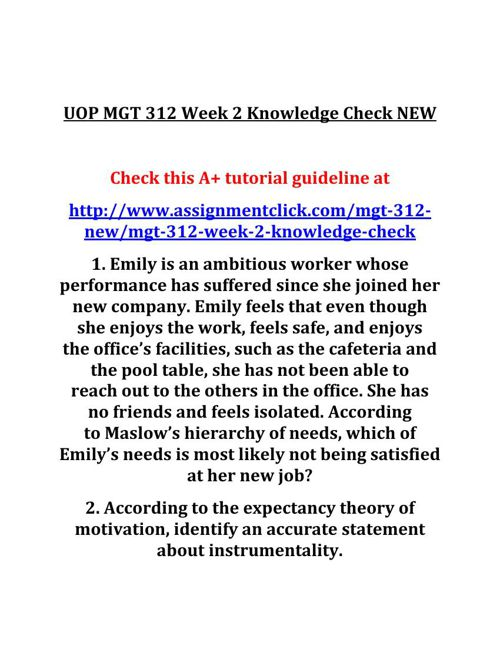 UOP MGT 312 Week 2 Knowledge Check NEW
