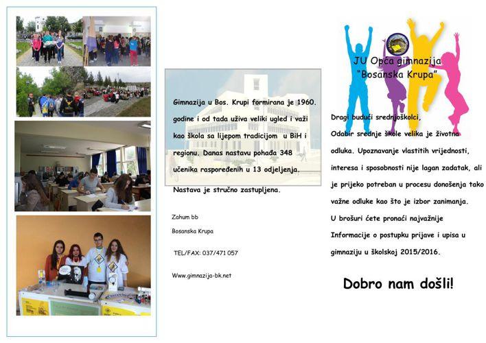 Brošura za upis