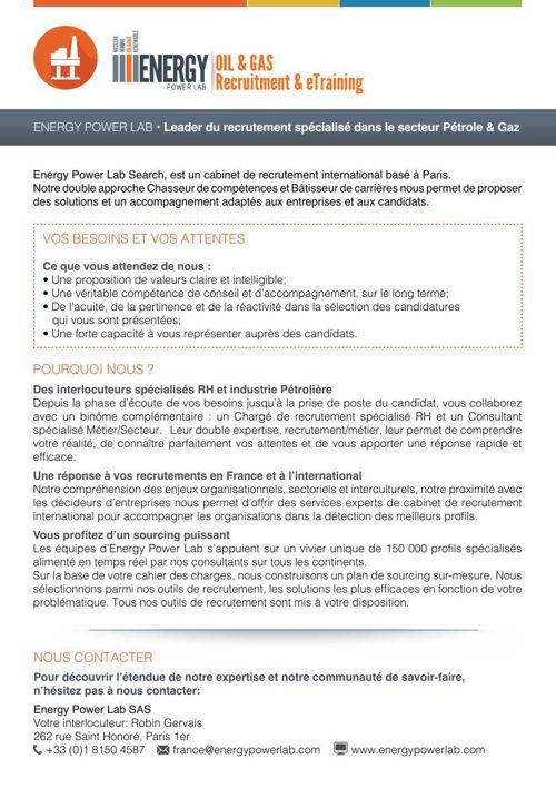 Plaquette Pétrole et Gaz EnergyPowerLab
