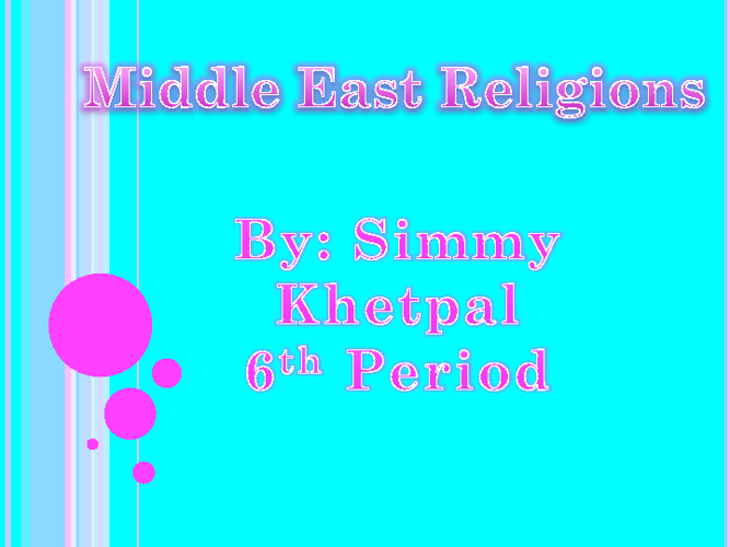 Middle East Religions Compare/Contrast Simran Khetpal 6th Period