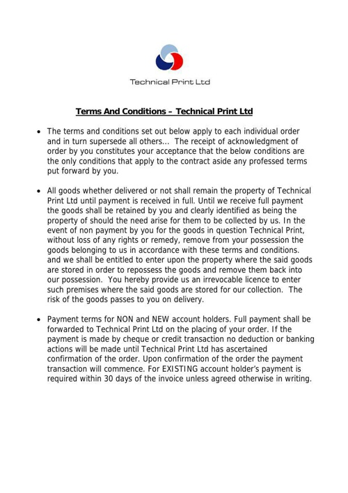 Terms And Conditions Technical Print Ltd