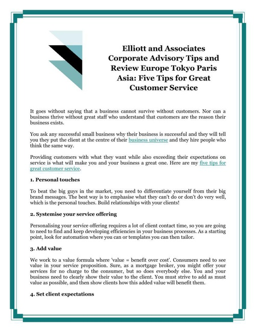 Elliott and Associates Corporate Advisory Tips and Review Europe