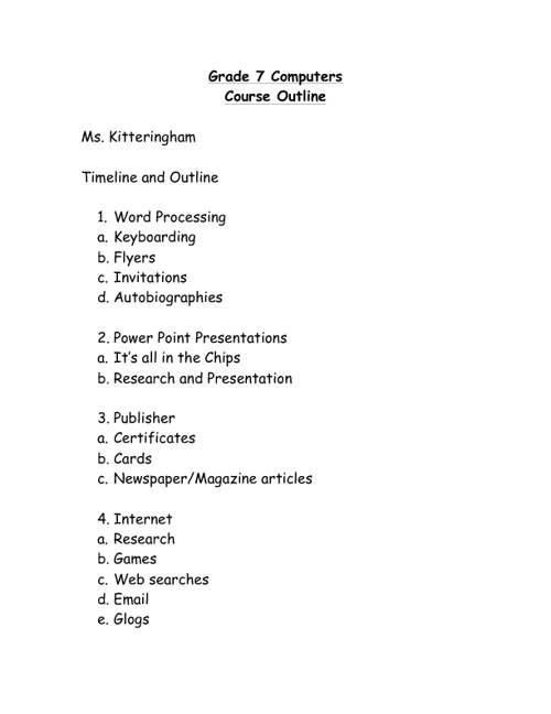 Computer 7 Course Outline