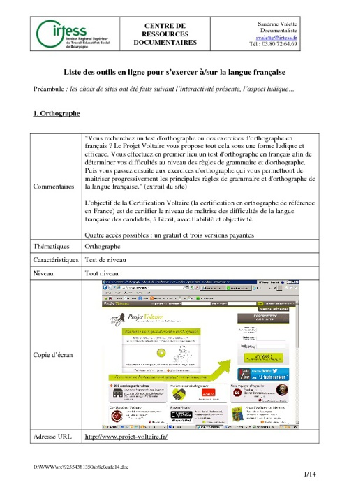 Liste des outils en ligne pour s'exercer à la langue française