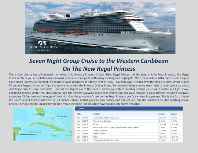 Seven Night Group Cruise to the Western Caribbean