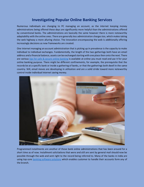 Investigating Popular Online Banking Services