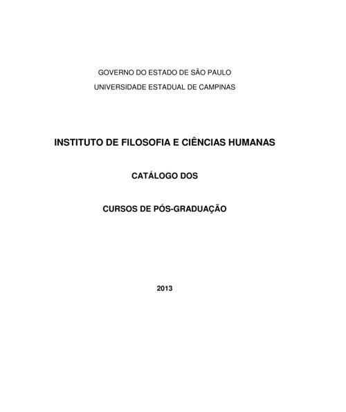 Catálogo do cursos de pós-graduação Unicamp 2013