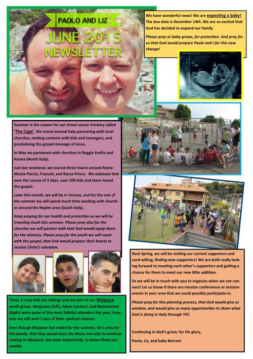 Paolo and Liz June 2015 Newsletter
