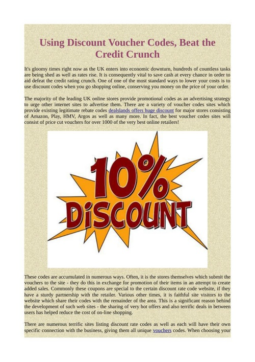 Using Discount Voucher Codes, Beat the Credit Crunch