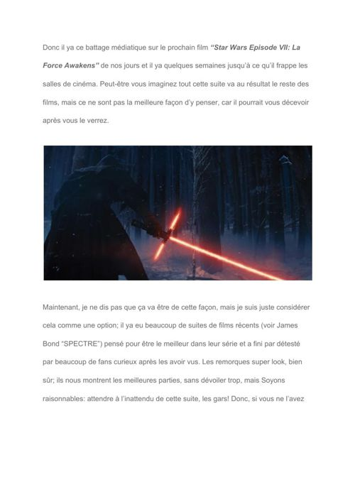 "[Fr] What to expect from ""Star Wars Episode VII- The Force Awake"