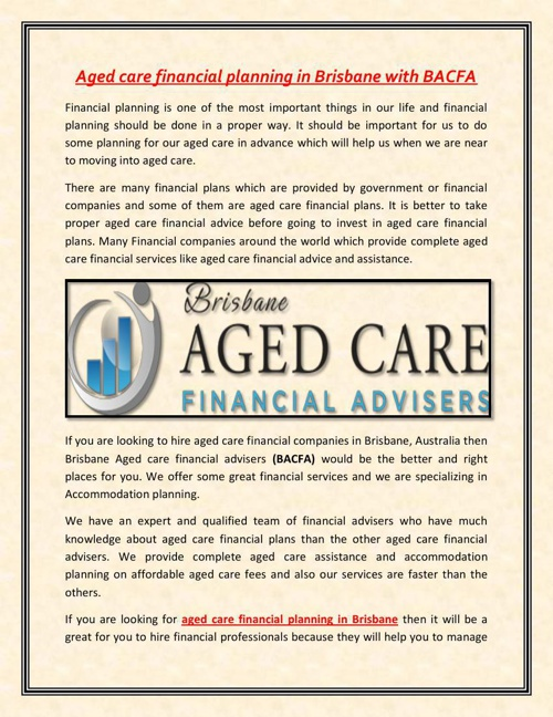 Aged care financial planning in Brisbane with BACFA