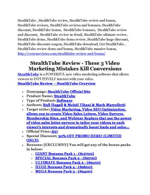 StealthTube review and StealthTube $11800 Bonus & Discount