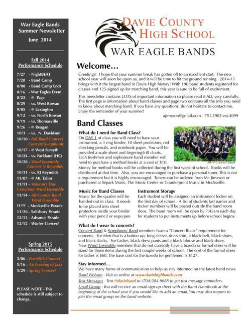 2014 Band Summer Newsletter