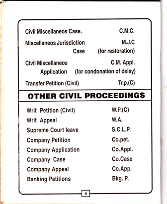 High Court of Kerala Categorisation and Nomenclature of Cases